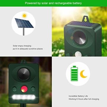 Jane Choi Solar Katzenschreck Tiervertreiber Wasserdichte Ultraschall Abwehr Solar Tierabwehr Hundeschreck für Katzen, Hunde, Wildtiere - 2
