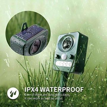 Jane Choi Solar Katzenschreck Tiervertreiber Wasserdichte Ultraschall Abwehr Solar Tierabwehr Hundeschreck für Katzen, Hunde, Wildtiere - 3