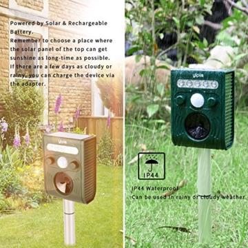VEAMA YIPIN Ultraschall Tiervertreiber Solar Tierabwehr Wasserdicht Abwehr Katzenschreck Hundeschreck Marderabwehr vogelabwehr - 5