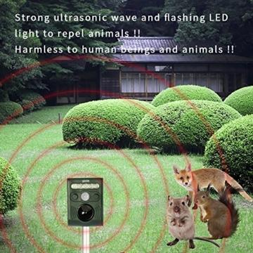 VEAMA YIPIN Ultraschall Tiervertreiber Solar Tierabwehr Wasserdicht Abwehr Katzenschreck Hundeschreck Marderabwehr vogelabwehr - 6
