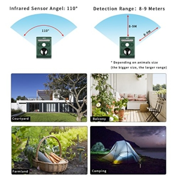 VEAMA YIPIN Ultraschall Tiervertreiber Solar Tierabwehr Wasserdicht Abwehr Katzenschreck Hundeschreck Marderabwehr vogelabwehr - 7